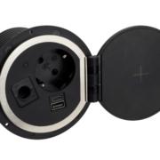 Neu: TecLines TES005B Einbausteckdose mit 1x USB-A, 1x USB-C, 1x Leer, Qi, schwarz