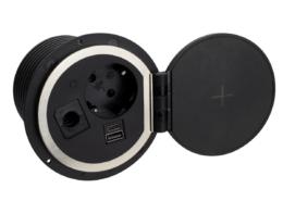 TecLines TES005B Einbausteckdose mit 1x USB-A, 1x USB-C, 1x Leer, Qi, schwarz