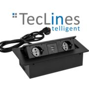 TecLines TES versenkbare Einbausteckdose mit Kabel, 2x Steckdose, 2x USB, schwarz