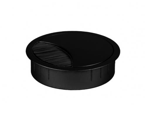 TecLines TKD001 Tisch Kabeldurchführung 60x21 mm, schwarz