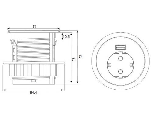 TecLines TMS001 Multifunktionssteckdose 1x Steckdose, 1x USB, technische Zeichnung