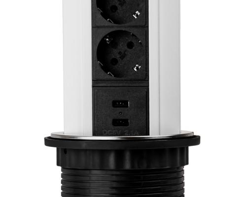 TecLines TVS001 versenkbare Steckdosenleiste 339mm, 3x Schuko, 2x USB